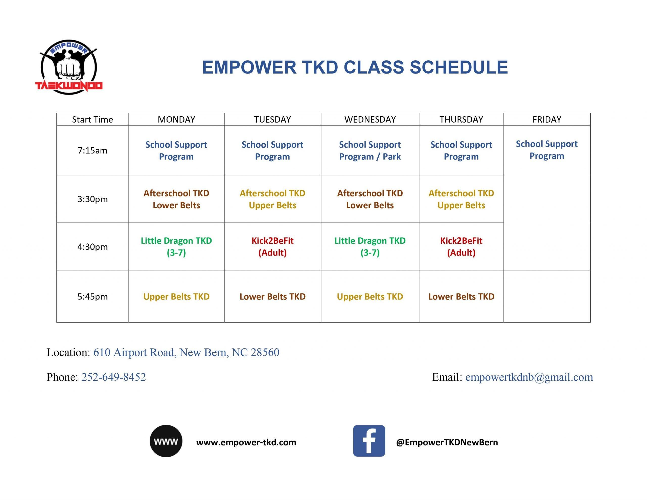 Empower TKD Evening Classes Schedule 202101