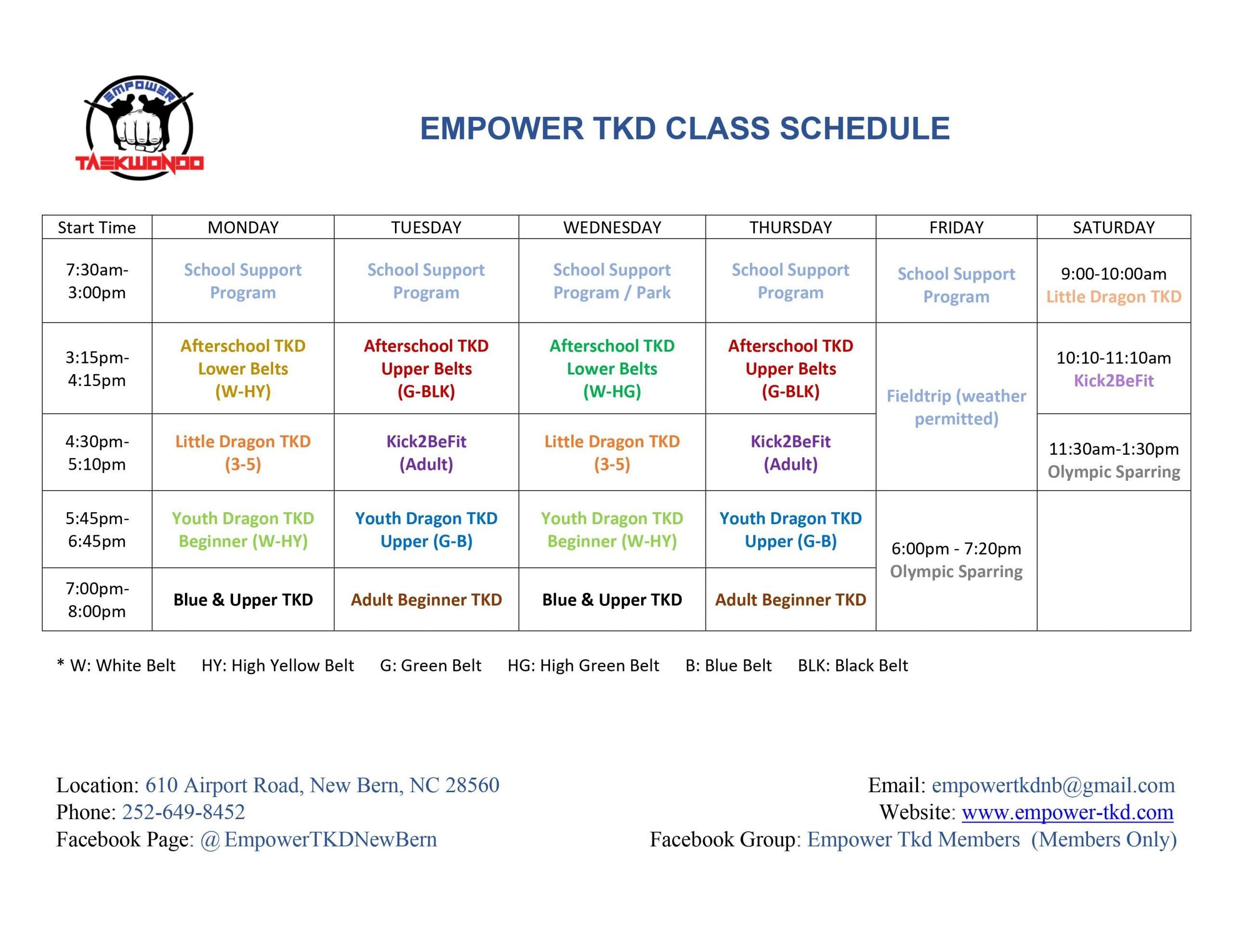 Empower TKD Evening Classes Schedule 202103
